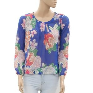 S Oliver Printed Pintuck Mulicolor Boho Top M